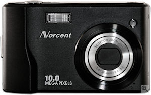 Norcent's DSC-1050 digital camera. Courtesy of Norcent, with modifications by Michael R. Tomkins. Click for a bigger picture!
