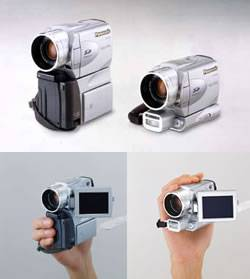 Panasonic's NV-EX21 digital still camera / digital video camcorder combo, shown in both still and video configurations. Courtesy of Matsushita Electronic Industrial Co. Ltd.
