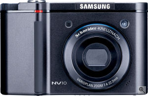 Samsung's NV10 digital camera. Courtesy of Samsung, with modifications by Michael R. Tomkins. Click for a bigger picture!
