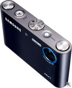 Samsung's NV3 digital camera. Courtesy of Samsung, with modifications by Michael R. Tomkins. Click for a bigger picture!