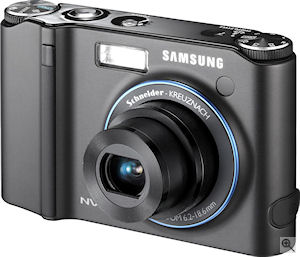 Samsung's NV40 digital camera. Courtesy of Samsung, with modifications by Michael R. Tomkins. Click for a bigger picture!