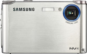 Samsung's NV4 digital camera. Courtesy of Samsung, with modifications by Michael R. Tomkins. Click for a bigger picture!