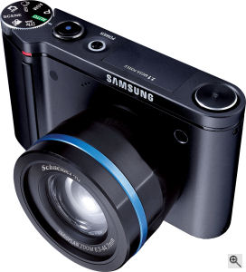 Samsung's NV7 digital camera. Courtesy of Samsung, with modifications by Michael R. Tomkins. Click for a bigger picture!
