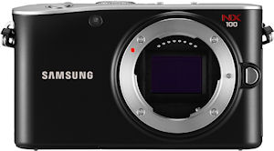 Samsung's NX100 digital camera. Photo provided by Samsung Electronics Co. Ltd. Click for a bigger picture!