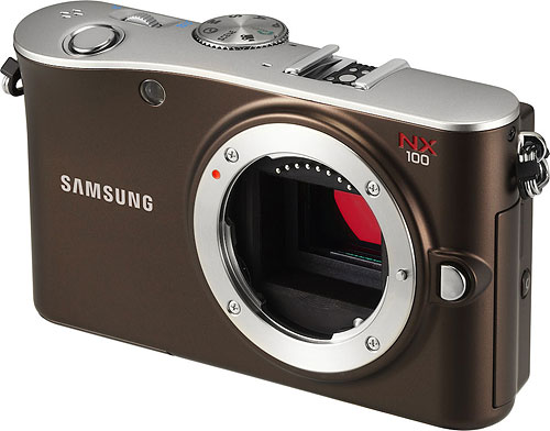Samsung's NX100 compact system camera. Photo provided by Samsung Electronics Co. Ltd. Click for a bigger picture!