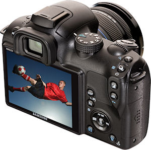 Samsung's NX10 digital camera with 18-55mm OIS lens attached. Photo provided by Samsung Electronics America Inc. Click for a bigger picture!