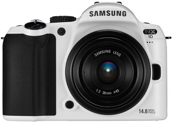 The limited edition white version of Samsung's NX10 single-lens direct view camera. Photo provided by Samsung Electronics Co. Ltd.