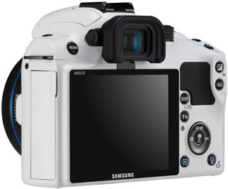 Samsung's NX10 White Edition single-lens direct view camera. Photo provided by Samsung Electronics Co. Ltd.