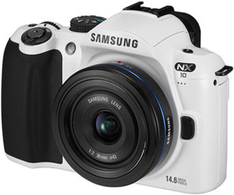 Samsung's NX10 White Edition compact system camera. Photo provided by Samsung Electronics Co. Ltd.