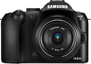 Samsung's NX5 digital camera. Photo provided by Samsung Electronics GmbH. Click for a bigger picture!