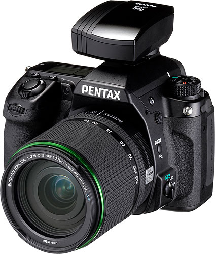 Pentax's K-5 digital SLR, shown with the optional O-GPS1 GPS receiver mounted. Photo provided by Pentax Imaging Co. Click for a bigger picture!