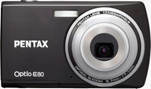 Pentax's Optio E80 digital camera. Photo provided by Pentax Imaging Co. Click for a bigger picture!