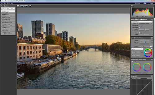Using the HDR ToneMap tool in Oloneo PhotoEngine. Screenshot provided by Oloneo SAS. Click for a bigger picture!