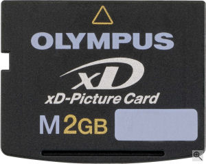 Olympus' 2GB xD-Picture card. Courtesy of Olympus, with modifications by Michael R. Tomkins. Click for a bigger picture!