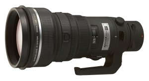 Olympus' E System 300mm lens. Courtesy of Olympus, with modifications by Michael R. Tomkins. Click for a bigger picture!