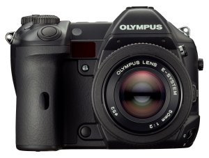 Olympus' E System camera body. Courtesy of Olympus, with modifications by Michael R. Tomkins. Click for a bigger picture!