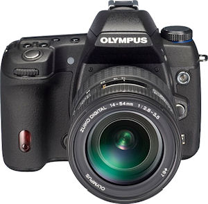 Olympus' unnamed Four Thirds prototype camera. Courtesy of Olympus, with modifications by Michael R. Tomkins. Click for a bigger picture!