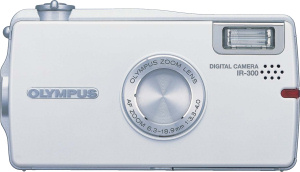 Olympus' IR-300 digital camera. Courtesy of Olympus, with modifications by Michael R. Tomkins. Click for a bigger picture!