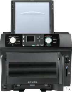 Olympus P-440 printer. Courtesy of Olympus, with modifications by Michael R. Tomkins. Click for a bigger picture!