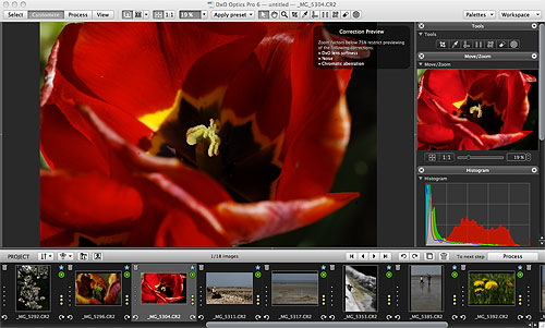 Customizing an image in DxO Optics Pro v6.6 on the Mac platform. Screenshot provided by DxO Labs. Click for a bigger picture!