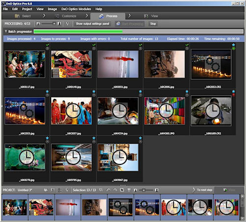 Optics Pro 6: The Process screen. Screenshot provided by DxO Labs. Click for a bigger picture!