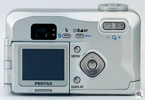 Pentax's Optio 230 digital camera. Courtesy of Pentax Corp., with modifications by Michael R. Tomkins. Click for a bigger picture!