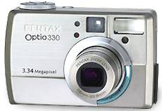 Pentax's Optio 330  digital camera, front view. Courtesy of Pentax.