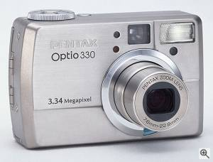 Pentax's Optio 330 digital camera. Courtesy of Pentax Corp. Click for a bigger picture!