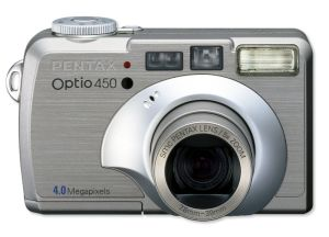 Pentax's Optio 450 digital camera. Courtesy of Pentax, with modifications by Michael R. Tomkins. Click for a bigger picture!