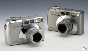 Pentax's Optio 450 and 550 digital cameras. Courtesy of Pentax, with modifications by Michael R. Tomkins. Click for a bigger picture!