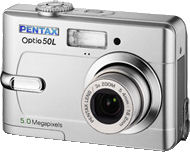 Pentax's Optio 50L digital camera. Courtesy of Pentax, with modifications by Michael R. Tomkins.