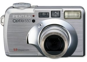 Pentax's Optio 550 digital camera. Courtesy of Pentax, with modifications by Michael R. Tomkins. Click for a bigger picture!