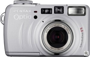 Pentax's Optio 555 digital camera. Courtesy of Pentax, with modifications by Michael R. Tomkins. Click for a bigger picture!