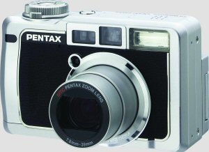 Pentax's Optio750Z digital camera. Courtesy of Pentax, with modifications by Michael R. Tomkins. Click for a bigger picture!