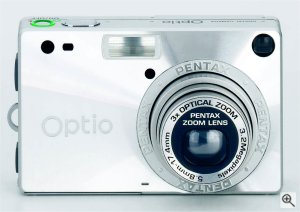 Pentax's OptioS digital camera. Courtesy of Pentax, with modifications by Michael R. Tomkins. Click for a bigger picture!