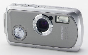 Pentax's OptioWP digital camera. Courtesy of Pentax, with modifications by Michael R. Tomkins. Click for a bigger picture!