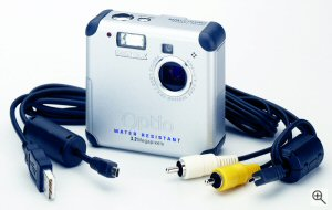Pentax's Optio 33WR digital camera. Courtesy of Pentax, with modifications by Michael R. Tomkins. Click for a bigger picture!