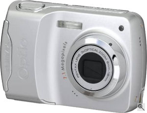 Pentax's Optio E30 digital camera. Courtesy of Pentax, with modifications by Michael R. Tomkins. Click for a bigger picture!