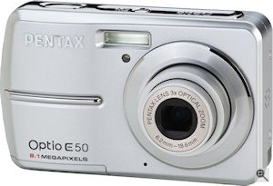 Pentax' Optio E50 digital camera. Courtesy of Pentax, with modifications by Michael R. Tomkins. Click for a bigger picture!