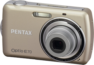 Pentax's Optio E70 digital camera, front view. Photo provided by Pentax Imaging Co. Click for a bigger picture!