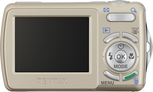 Pentax's Optio E70 digital camera, rear view. Photo provided by Pentax Imaging Co. Click for a bigger picture!