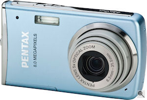 Pentax' Optio M50 digital camera. Courtesy of Pentax, with modifications by Michael R. Tomkins. Click for a bigger picture!