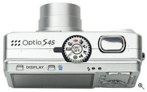Pentax's Optio S45 digital camera. Courtesy of Pentax, with modifications by Michael R. Tomkins. Click for a bigger picture!
