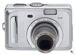 Pentax's Optio S55 digital camera. Courtesy of Pentax, with modifications by Michael R. Tomkins. Click for a bigger picture!
