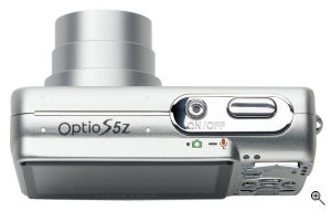 Pentax's Optio S5z digital camera. Courtesy of Pentax, with modifications by Michael R. Tomkins. Click for a bigger picture!