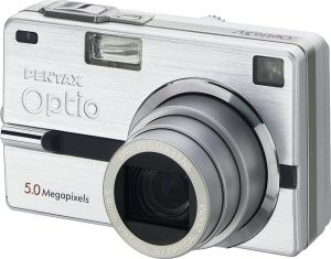 Pentax's Optio SV digital camera. Courtesy of Pentax, with modifications by Michael R. Tomkins. Click for a bigger picture!