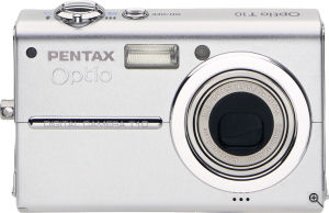 Pentax's Optio T10 digital camera. Courtesy of Pentax, with modifications by Michael R. Tomkins. Click for a bigger picture!