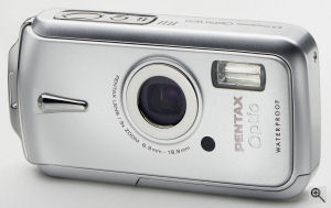 Pentax's Optio W10 digital camera. Courtesy of Pentax, with modifications by Michael R. Tomkins. Click for a bigger picture!