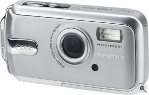 Pentax's Optio W20 digital camera. Courtesy of Pentax, with modifications by Michael R. Tomkins. Click for a bigger picture!