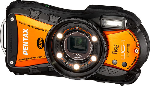 The PENTAX Optio WG-1 GPS digital camera ships in a new orange-bodied variant from next month. Photo provided by Pentax Imaging Co. Click for a bigger picture!